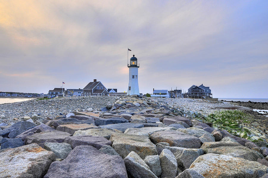 Sunset  - Old Scituate Light by Dan Myers