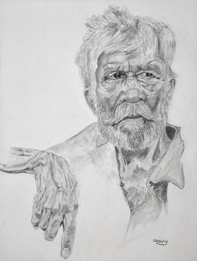 Old Drawing - Old Seaman by Glenn Calloway