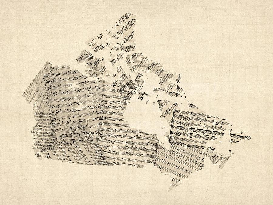 Old Sheet Music Map Of Canada Map Digital Art by Michael Tompsett