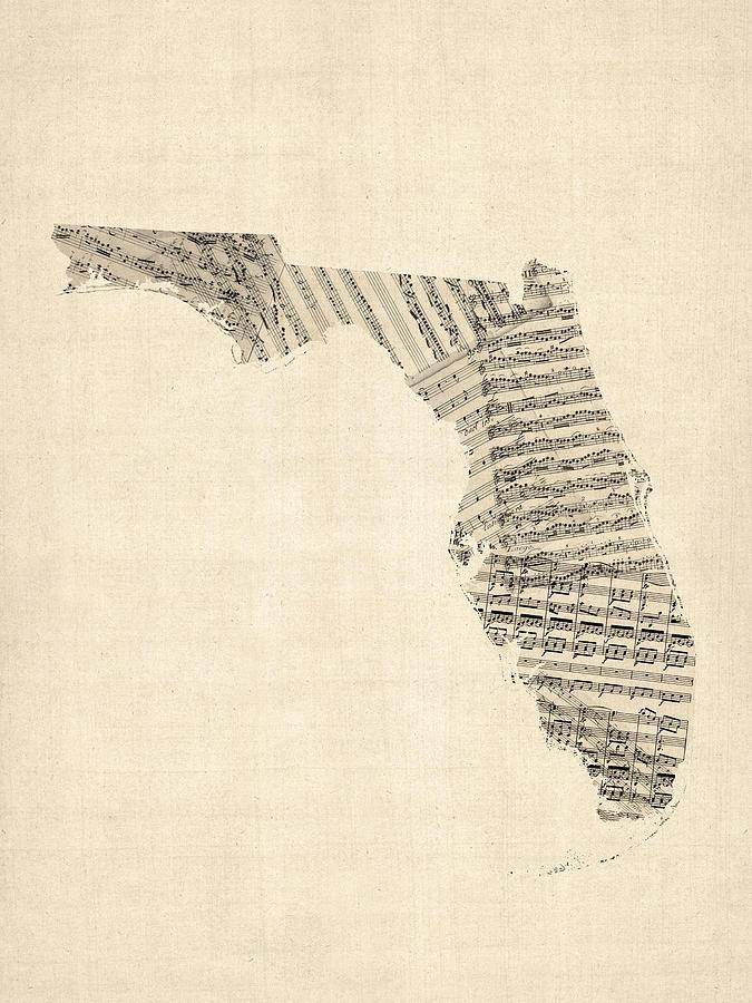 Florida Digital Art - Old Sheet Music Map Of Florida by Michael Tompsett