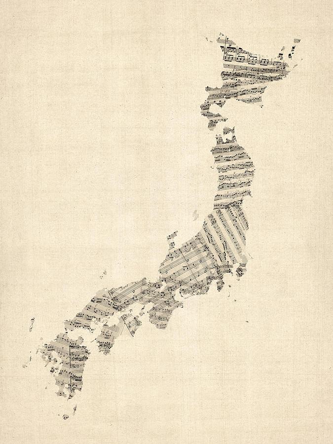 Japan Map Digital Art - Old Sheet Music Map of Japan by Michael Tompsett