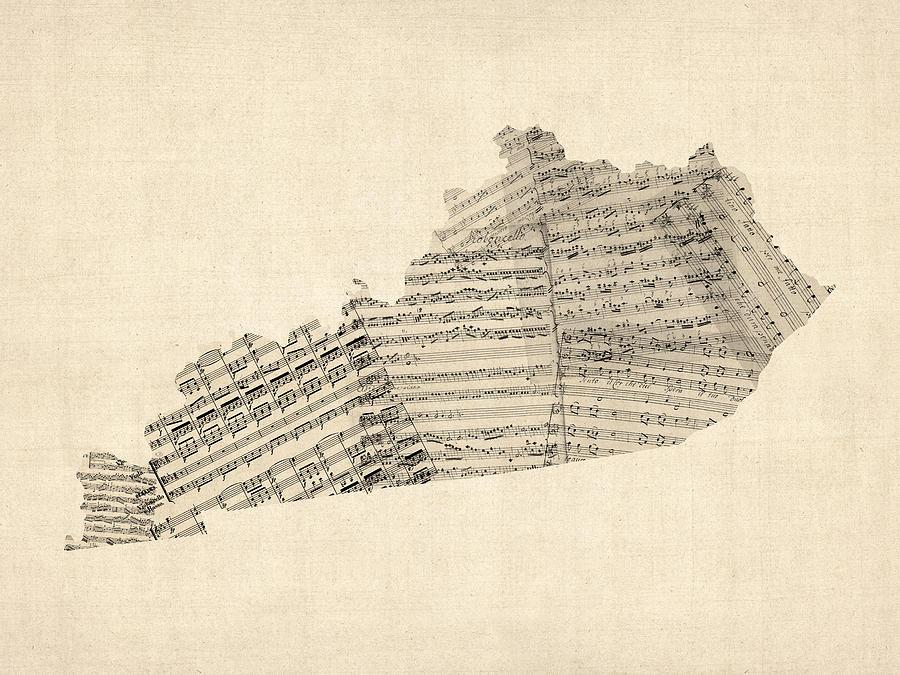 United States Map Digital Art - Old Sheet Music Map Of Kentucky by Michael Tompsett