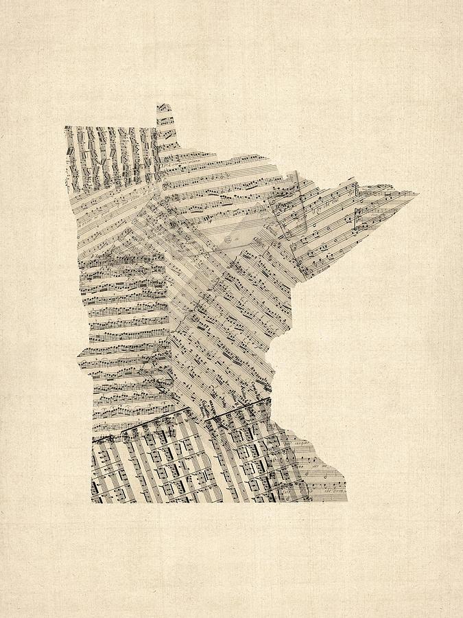 United States Map Digital Art - Old Sheet Music Map Of Minnesota by Michael Tompsett