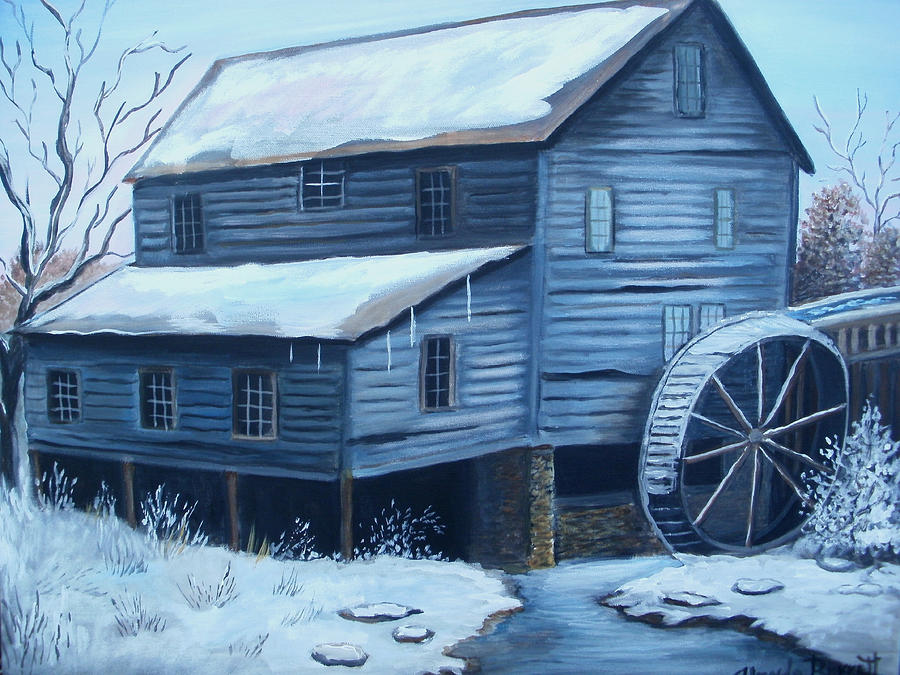 Original Painting - Old Snow Covered Mill by Glenda Barrett