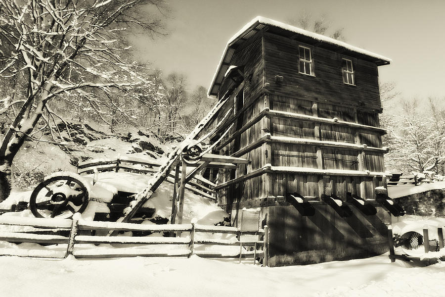 Scenic Photograph - Old Snow Covered Quarry Mill by George Oze