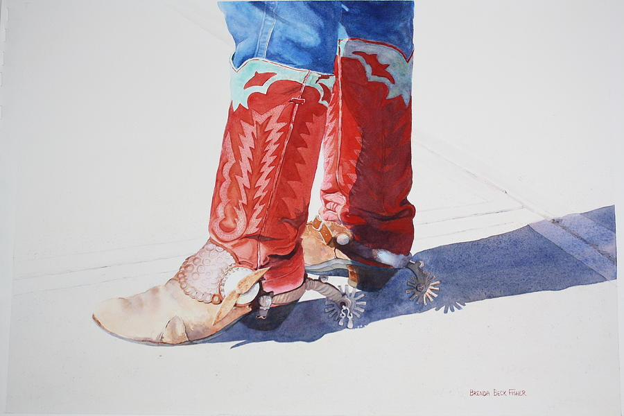Cowboy Boots Painting - Old Soles by Brenda Beck Fisher