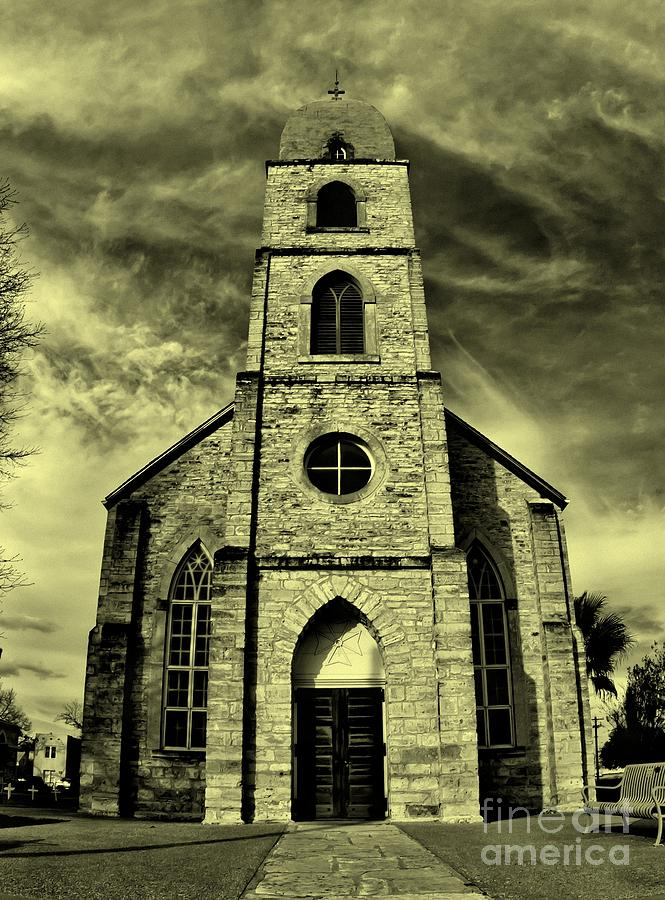 Sepia Photograph - Old St. Marys Church In Fredericksburg Texas In Sepia by Michael Tidwell