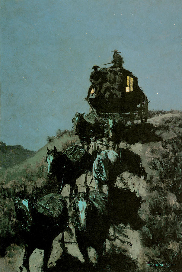 Frederick Remington Painting - Old Stage Coach Of The Plains by Frederick Remington