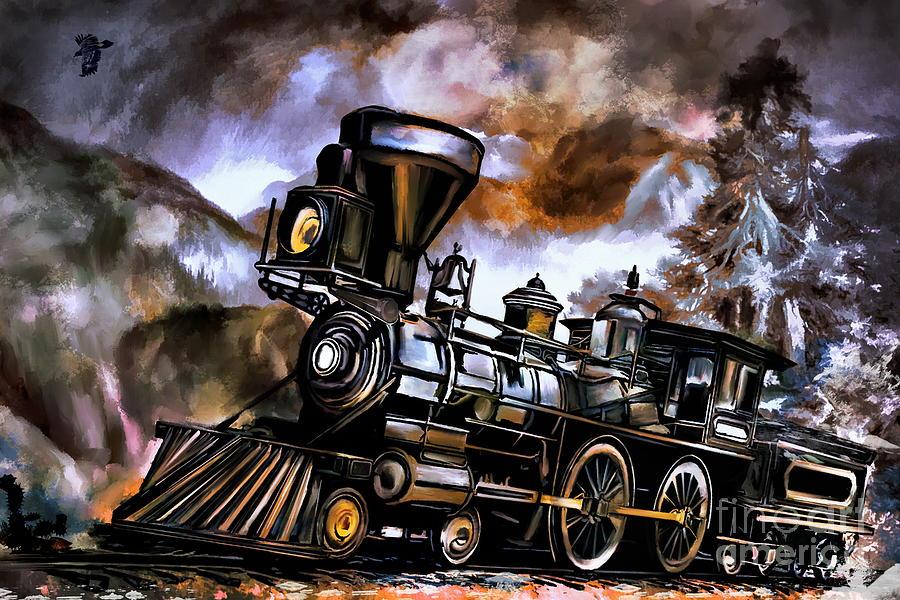 Railway Painting - Old Steam Engine  by Andrzej Szczerski