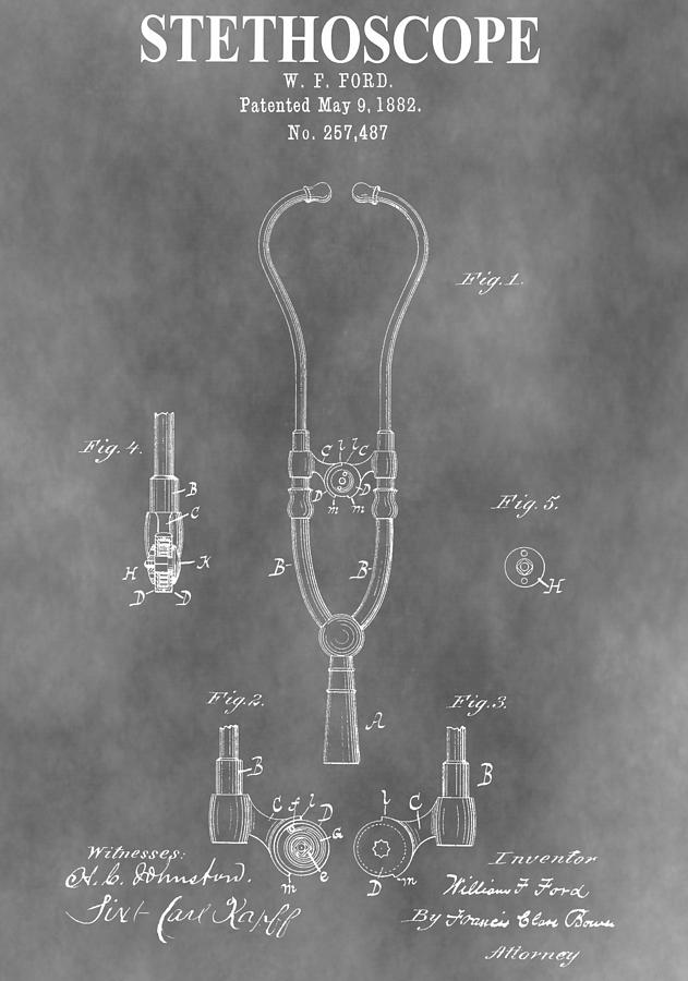 Stethoscope Mixed Media - Old Stethoscope Patent by Dan Sproul