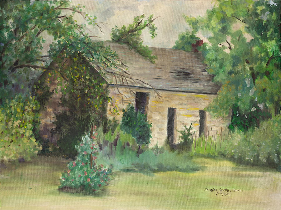 Stone Buildings Painting - Old Stone Building In Kansas by Sheila Kinsey