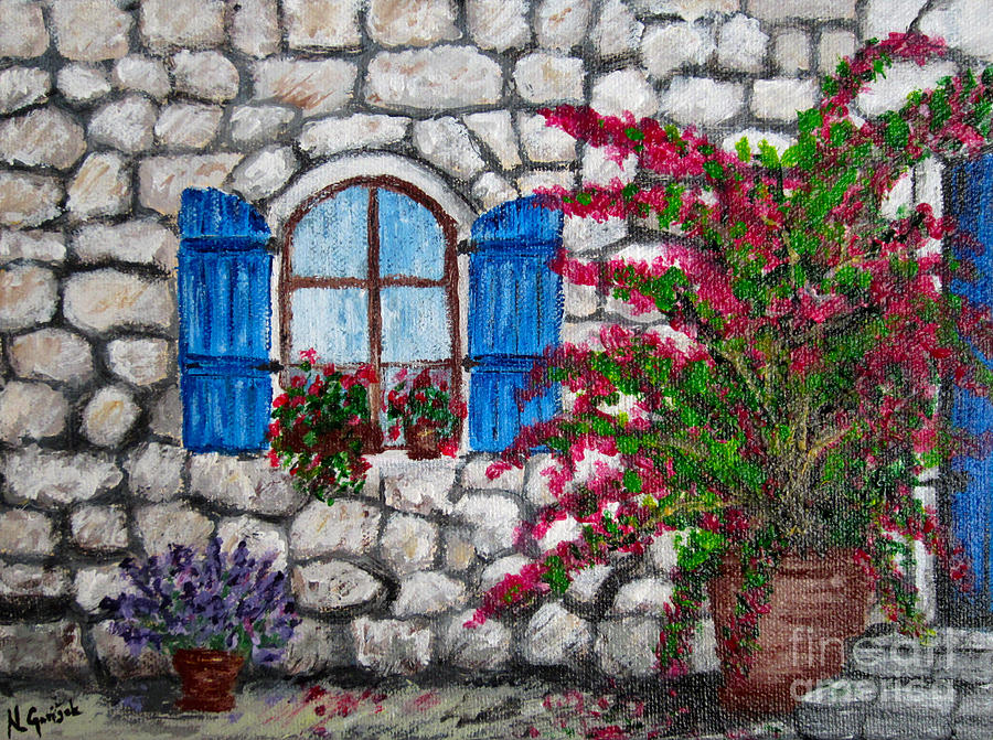 Old stone house painting by nikolina gorisek for Classic house painting