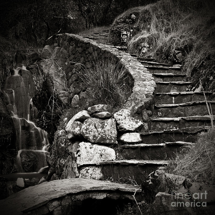 Stair Photograph - Old Stone Stairway by Charmian Vistaunet