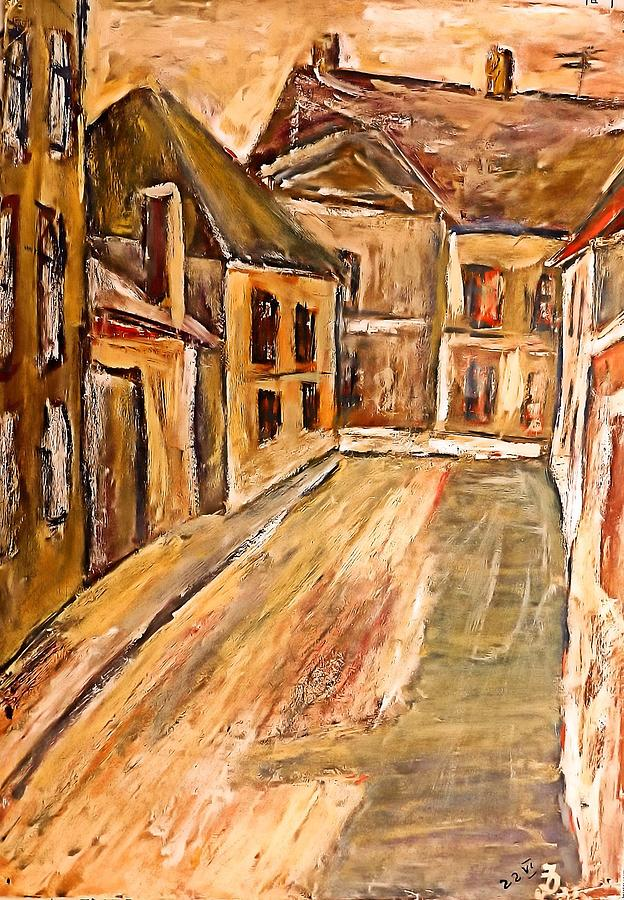 Artwork Painting - Old Street In The Old Transylvanian City by Ion vincent DAnu