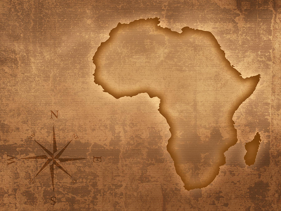 Africa Photograph - Old Style Africa Map by Johan Swanepoel