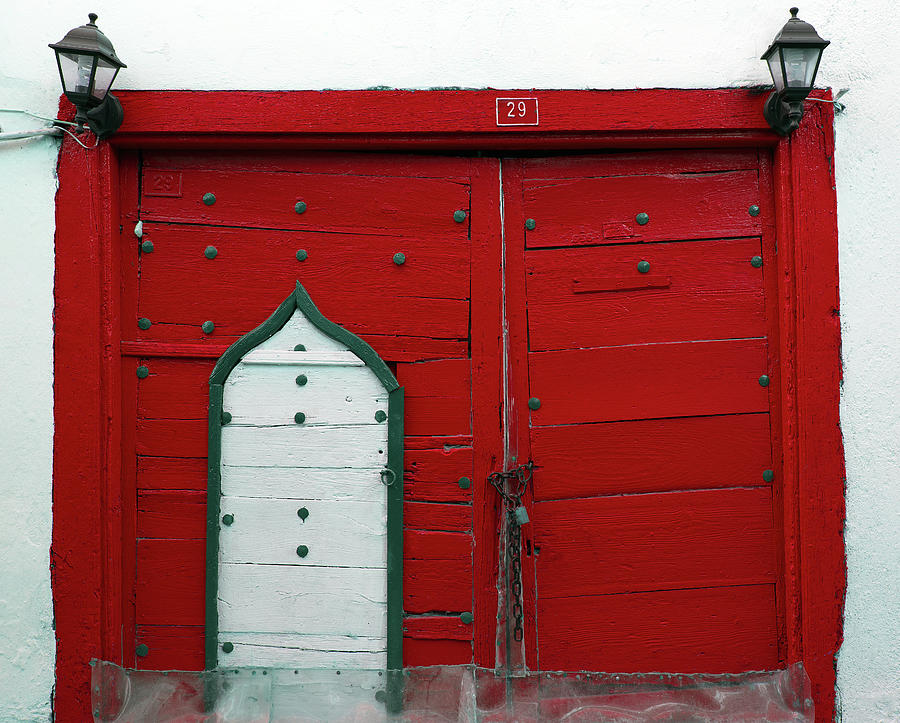 Old Style Red Colored Door Photograph by Okeyphotos