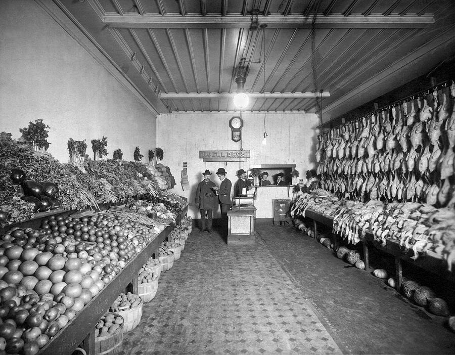 1890 Photograph - Old Time Grocery Store by Underwood Archives