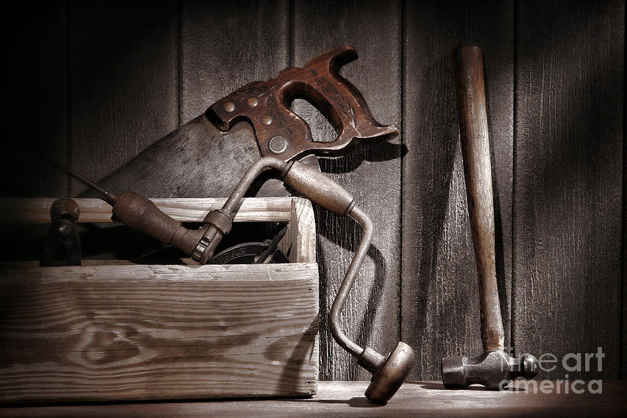 Carpenter Photograph - Old Tools by Olivier Le Queinec
