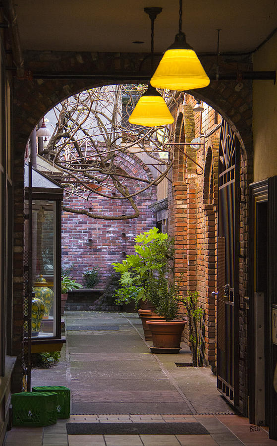 Old Photograph - Old Town Courtyard In Victoria British Columbia by Ben and Raisa Gertsberg