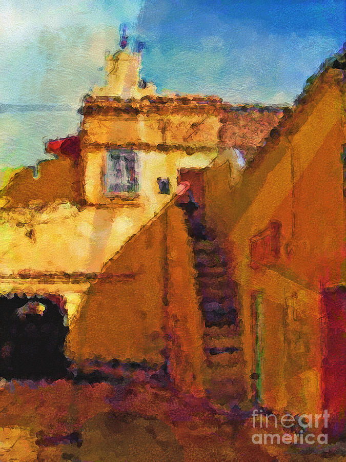 Morocco Painting - Old Town by Lutz Baar