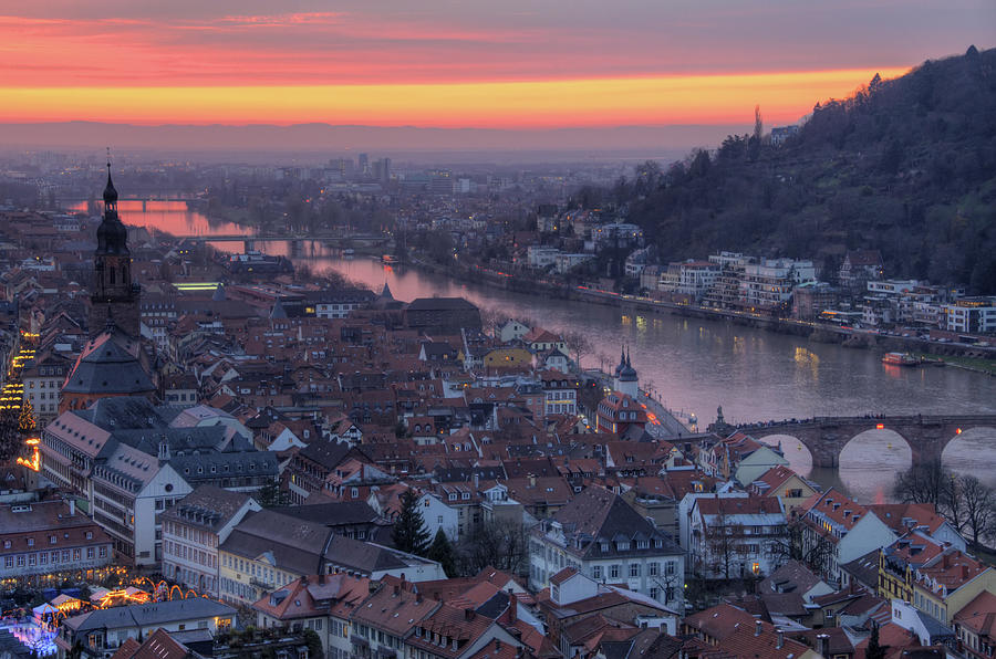 Old Town Of Heidelberg At Sunset Photograph by Richard Fairless