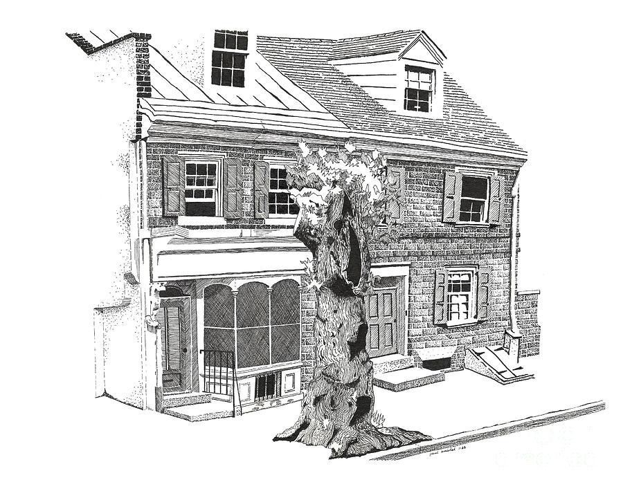 Old Town Drawing - Old Town Philadelphia by Paul Kmiotek
