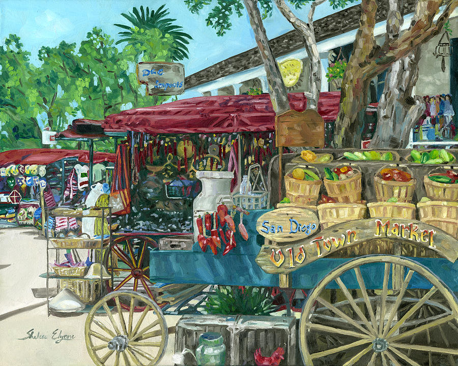 Old Town San Diego Painting - Old Town San Diego Market by Shalece Elynne