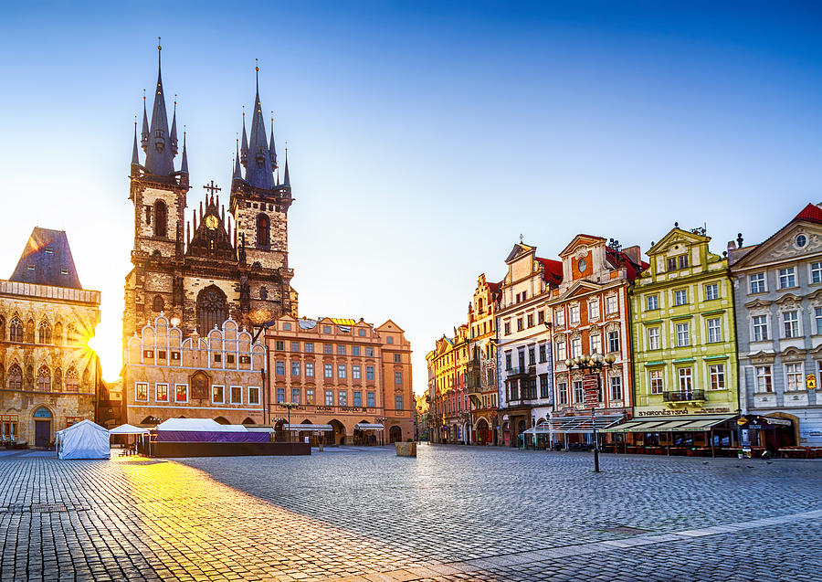 Old Town Square and Church of Our Lady before Týn in Prague at sunrise. Czech Republic Photograph by Eloi_Omella