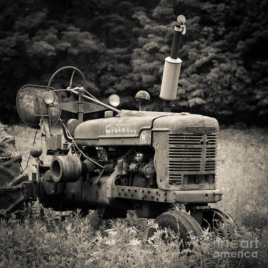 Old Tractor Black And White Square Photograph by Edward ...