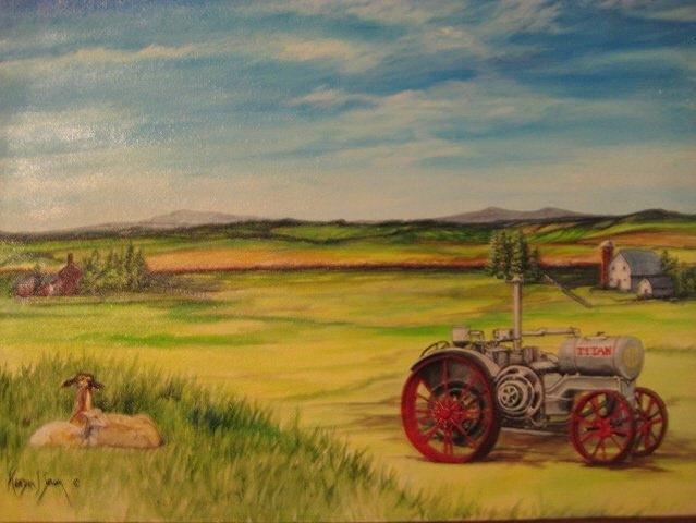 Tractor Painting - Old Tractor by Kendra Sorum