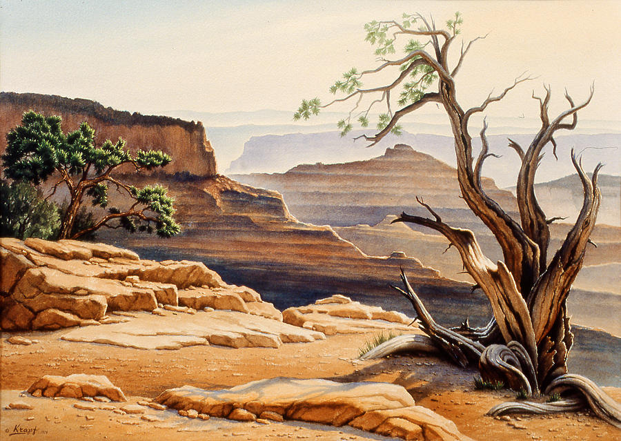 Landscape Painting - Old Tree At The Canyon by Paul Krapf