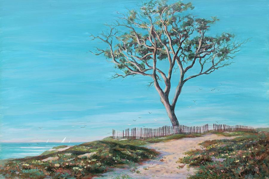 Beach Ocean Painting - Old Tree In Carpenteria by Tina Obrien