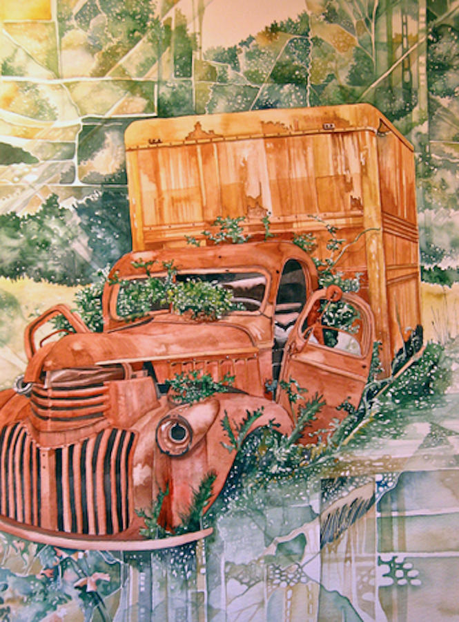 Old Truck Painting by Lance Wurst