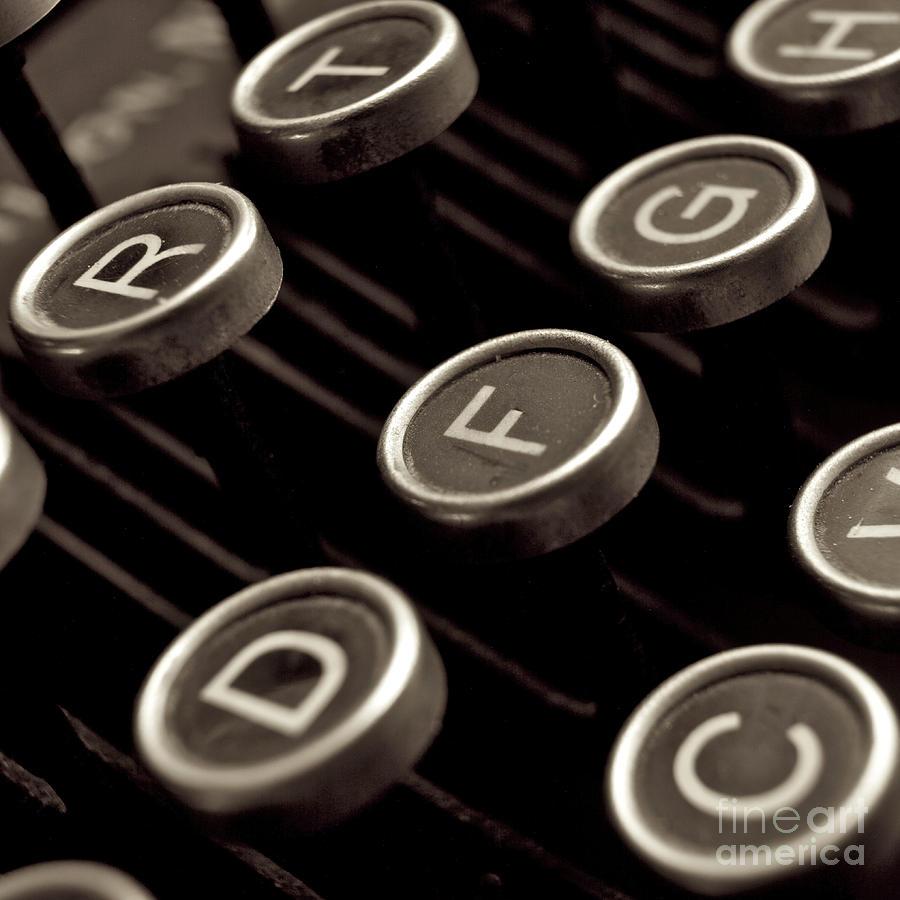 Studio Shot Photograph - Old Typewriter by Bernard Jaubert