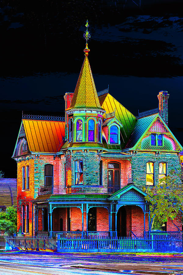 Mansion Drawing: Old Victorian House Pop Art Photograph By Phyllis Denton