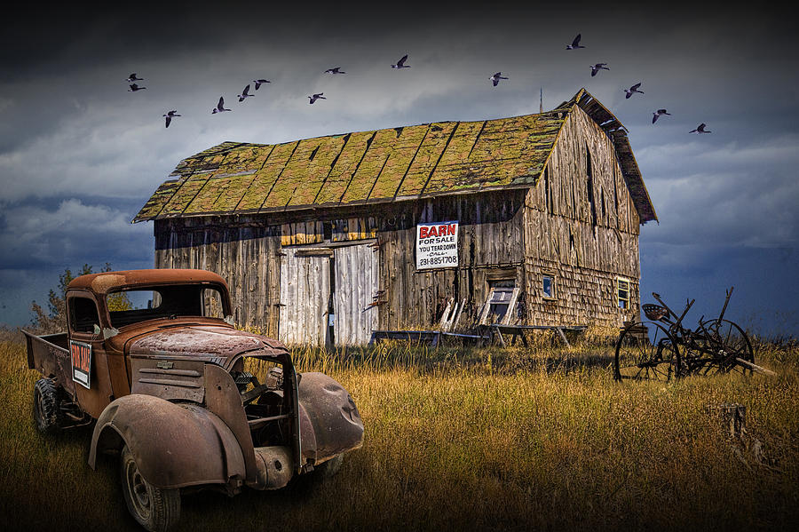 Old Vintage Truck And Wooden Barn For Sale Photograph by Randall Nyhof