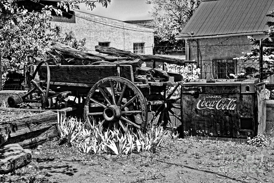 New Mexico Photograph - Old Wagon And Cooler by Timothy Hacker
