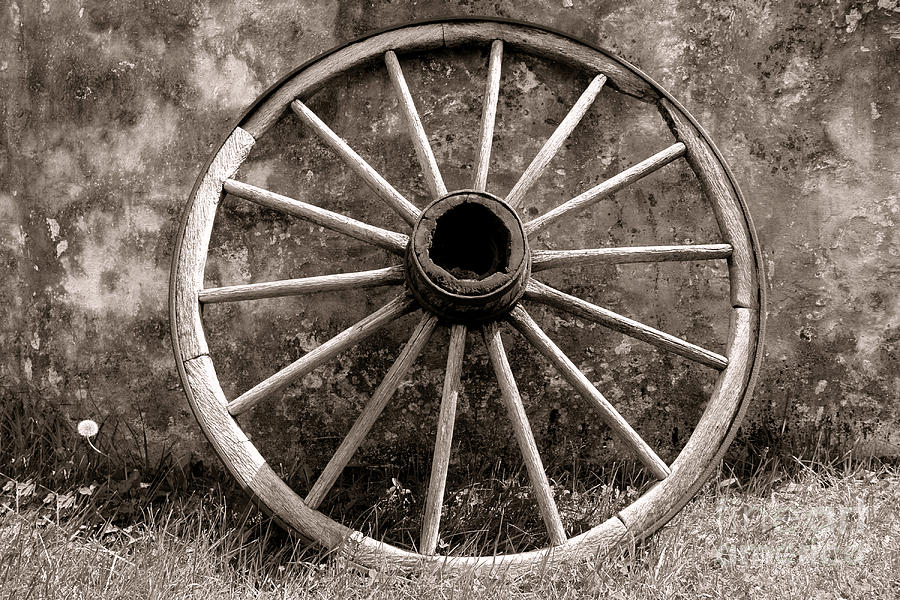 Wagon Photograph - Old Wagon Wheel by Olivier Le Queinec