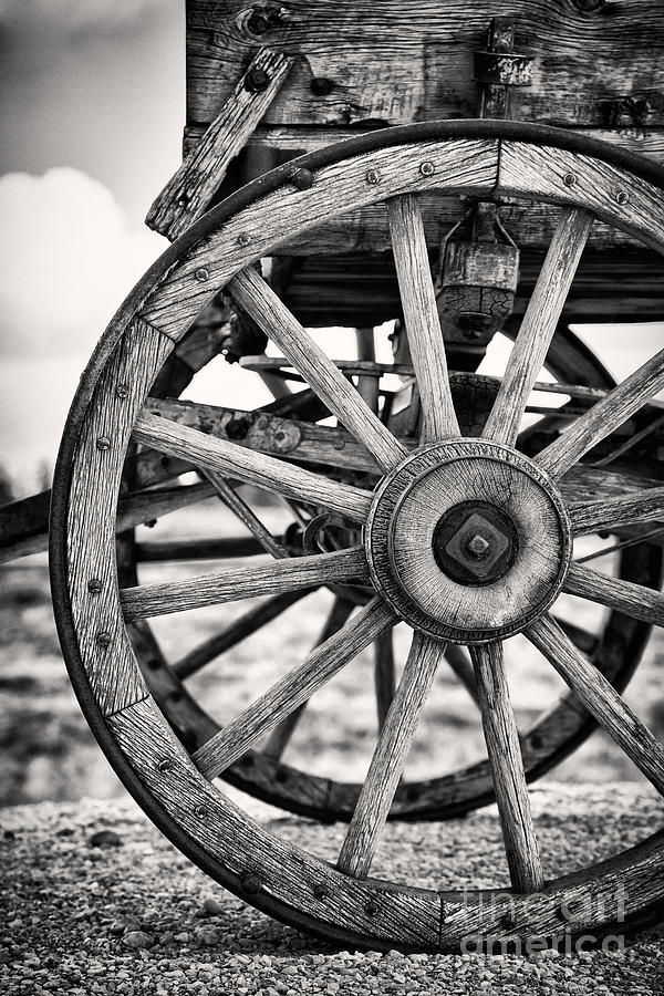 Aged Photograph - Old Wagon Wheels by Jane Rix