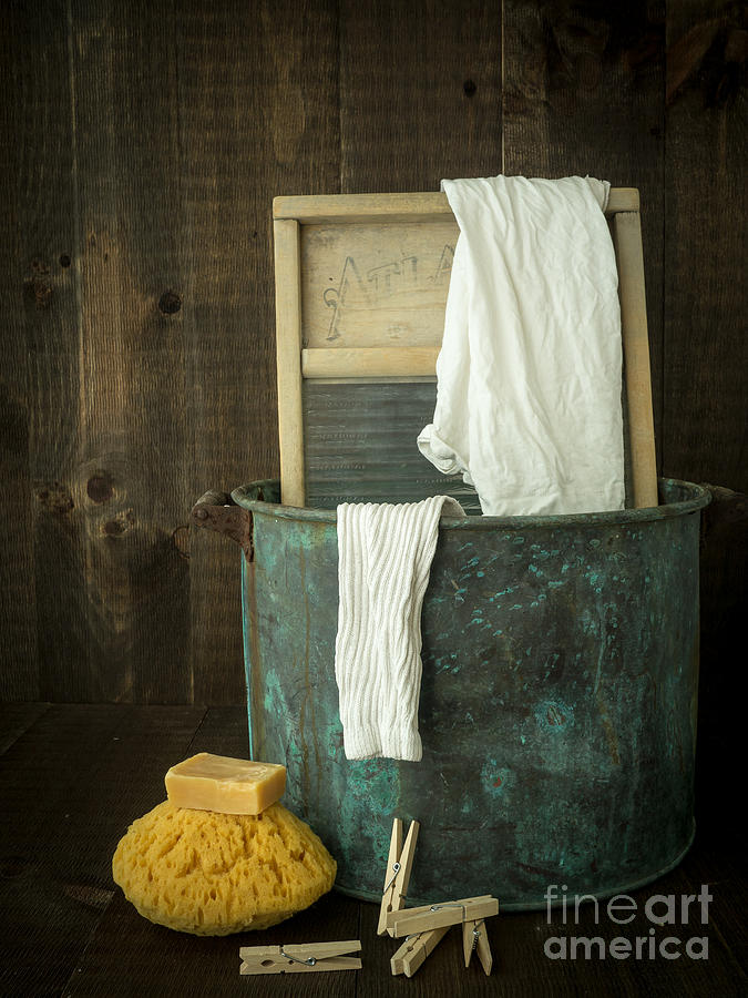 Laundry Photograph - Old Washboard Laundry Days by Edward Fielding