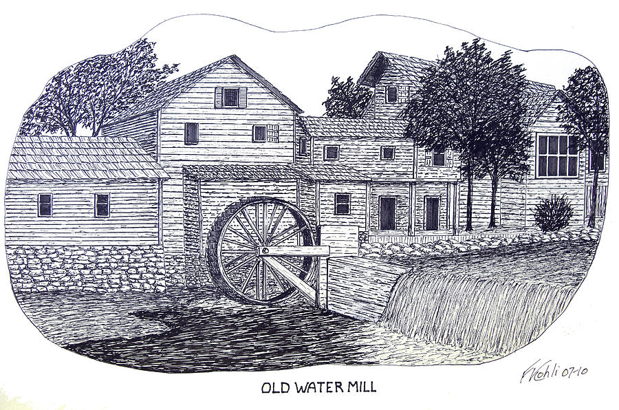 Ink Drawing - Old Water Mill by Frederic Kohli