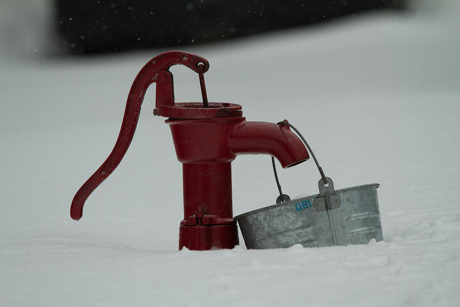 Pump Photograph - Old Water Pump In Snow by Richard Mitchell