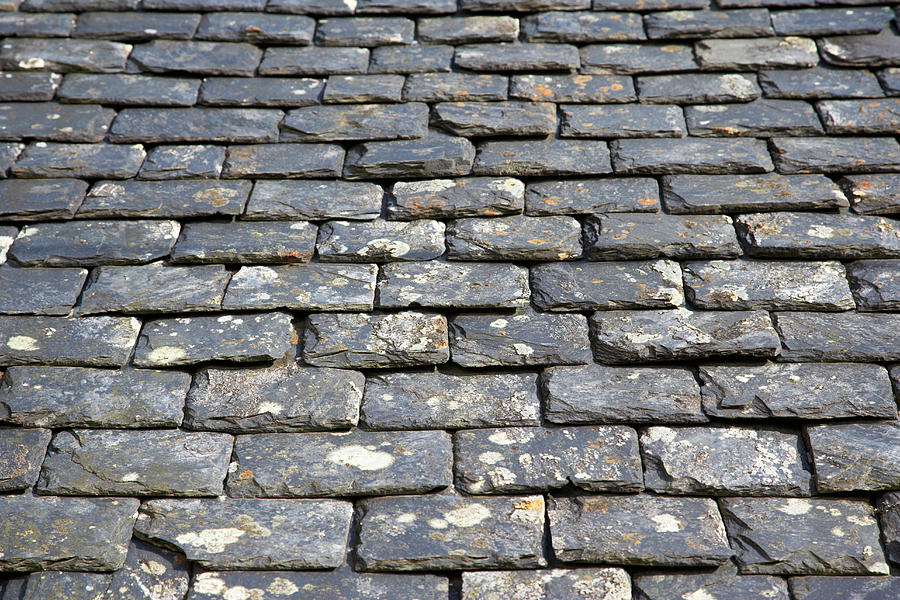Old, Weathered, Heavy Slate Roof Tiles Photograph by Joe Fox