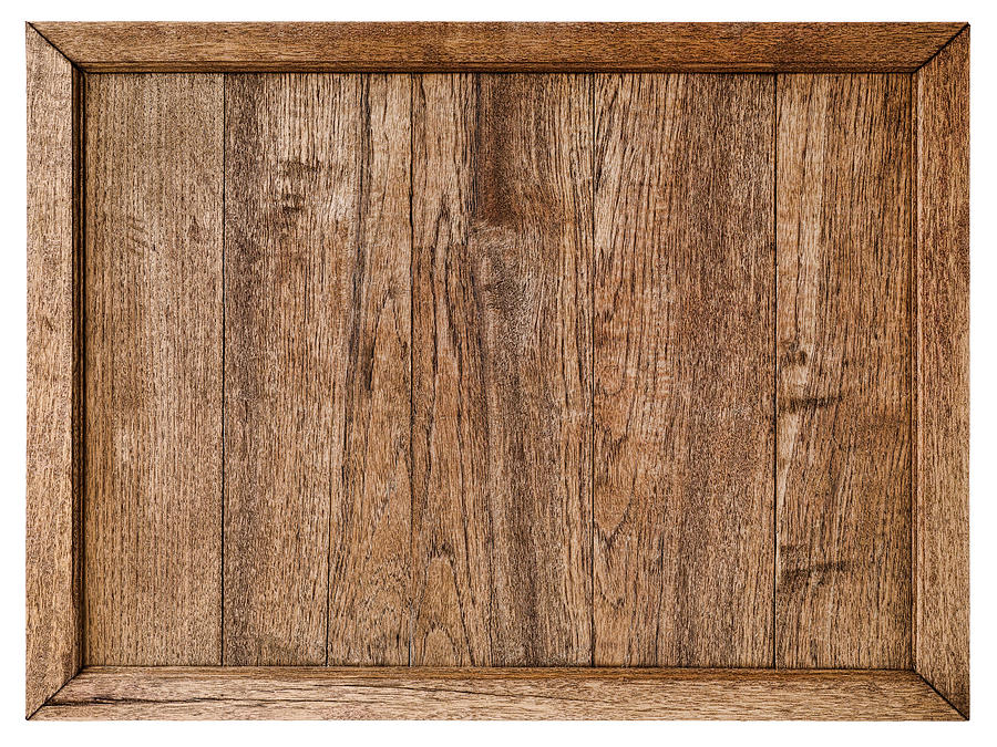 Old Weathered Rustic Wood Panel Background With Frame, Isolated On White,  Clipping Path Included