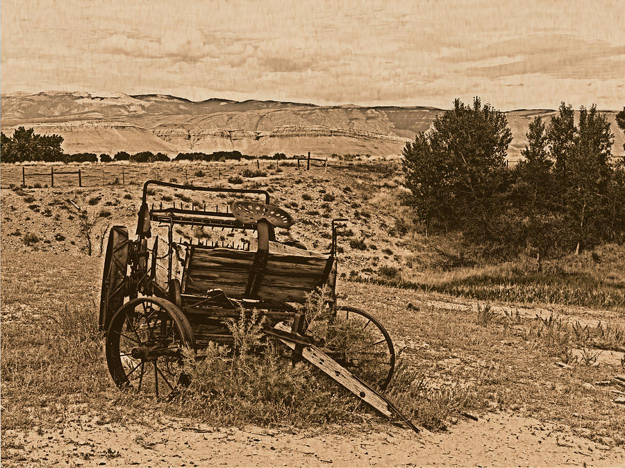 Aged Photograph - Old West Wagon by Leland D Howard
