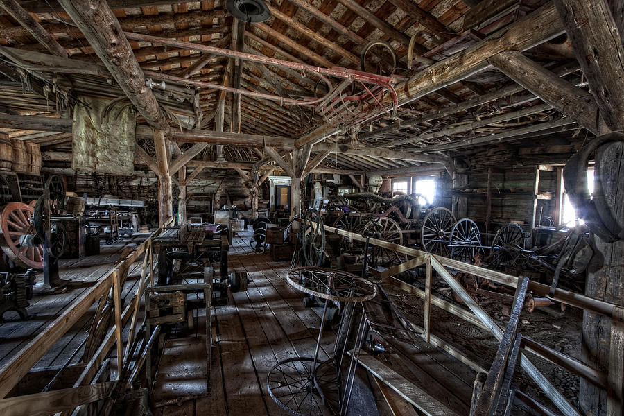 Montana Photograph - Old West Wagon Storage And Shop by Daniel Hagerman