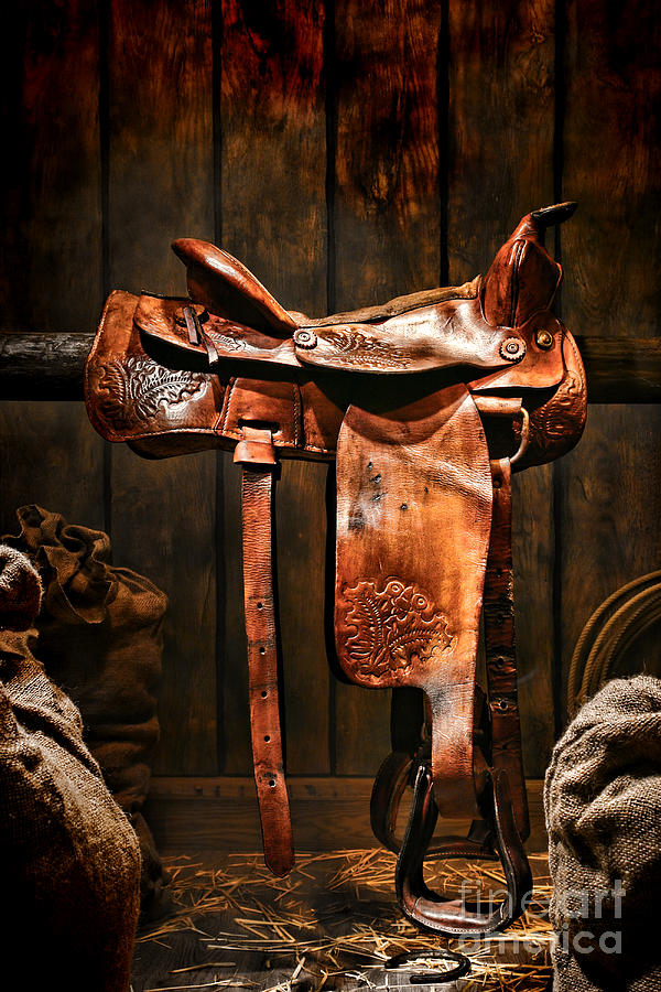 Saddle Photograph - Old Western Saddle by Olivier Le Queinec