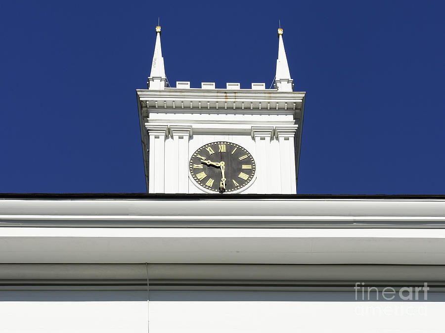 Clock Tower Photograph - Old Whaling Church by John Greim