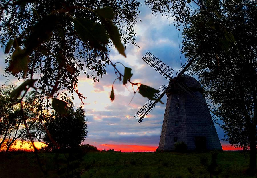Old Photograph - Old Windmill In The Evening by Juozas Mazonas