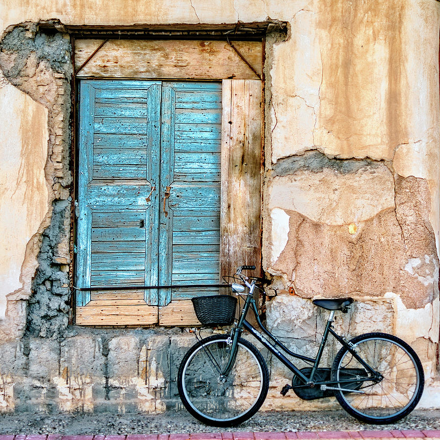 Bicycle Photograph - Old Window And Bicycle by George Digalakis